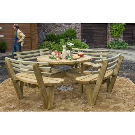 Round table with backrests