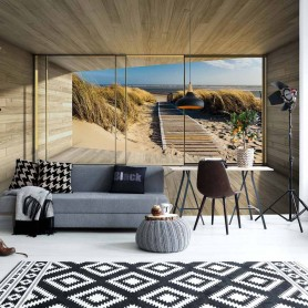 Beach Path 3D Modern Window View