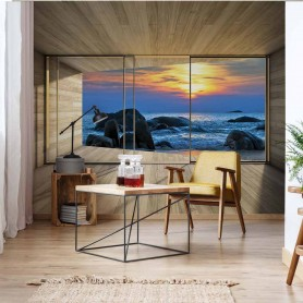 Фотообои Beach Sunset 3D Modern Window View