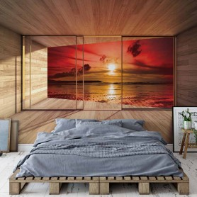 Fototapete Beach Sunset 3D Modern Window View