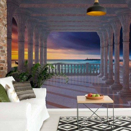 Beach Sunset 3D View Through Columns