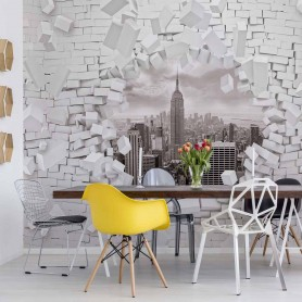 New York Bursting Through Brick Wall