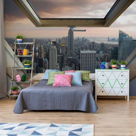 Fototapeet New York City Skyline 3D Skylight Window View