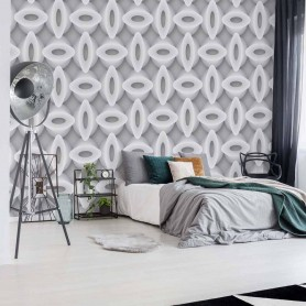 3D Abstract Pattern Grey And White