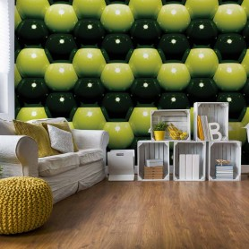 3D Green And Black Ball Pattern