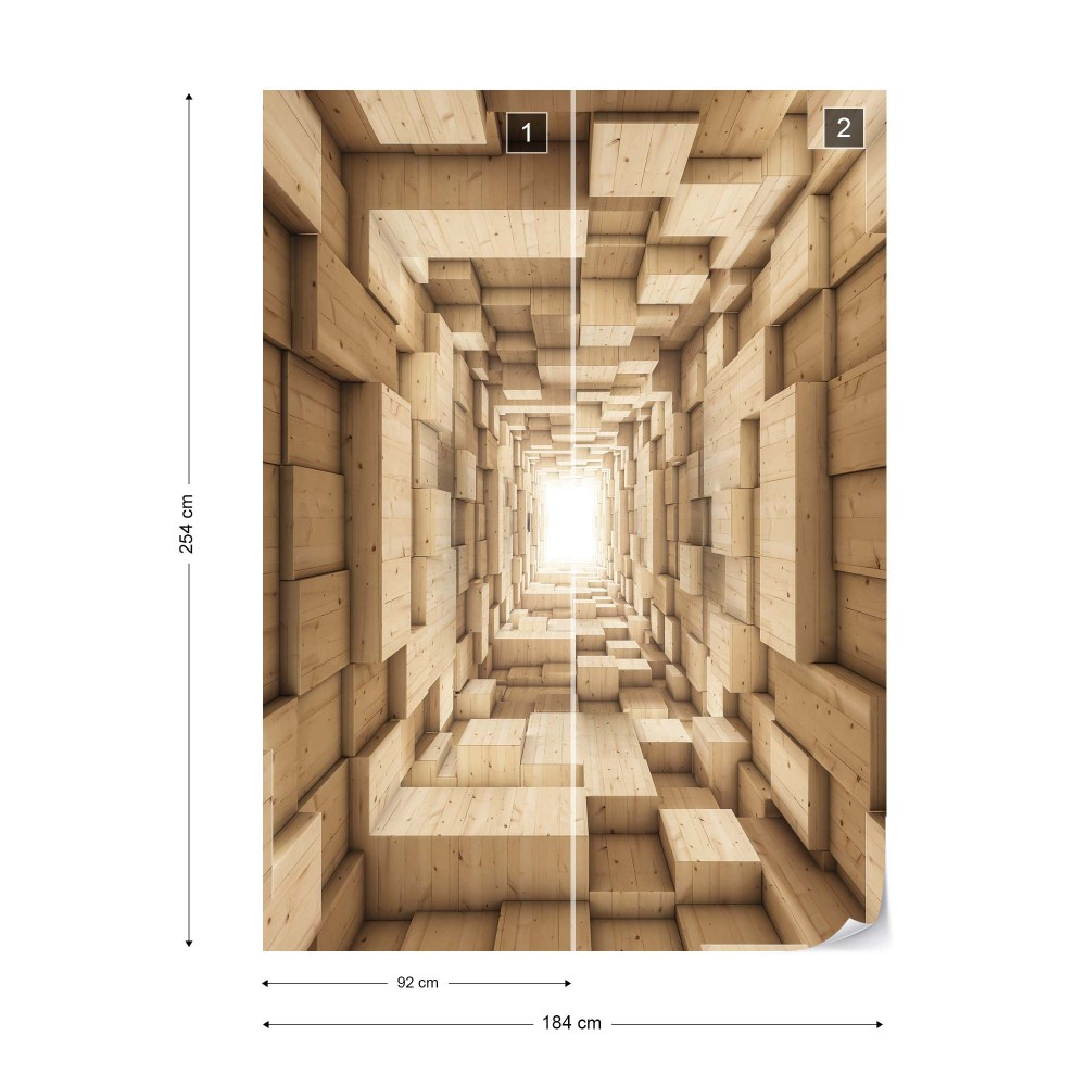Wallpaper 3D Wood Tunnel Optical Illusion