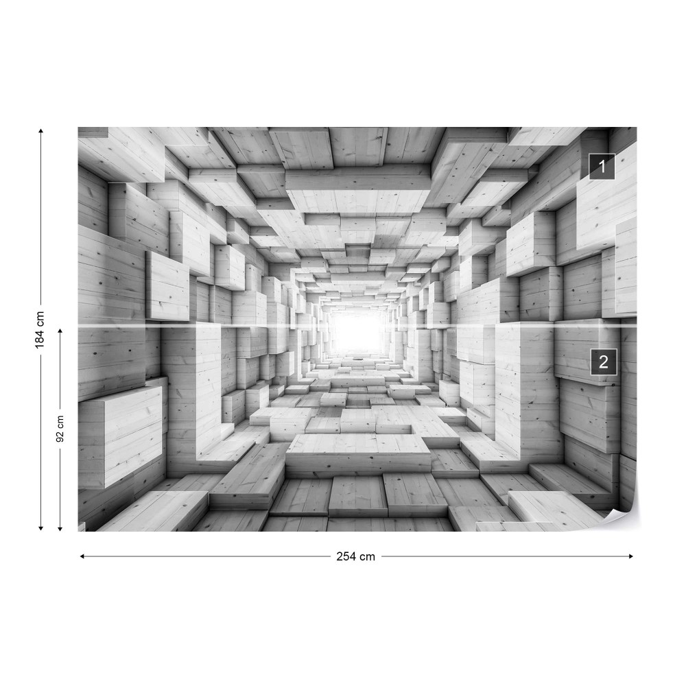 3d wood tunnel optical illusion black and white