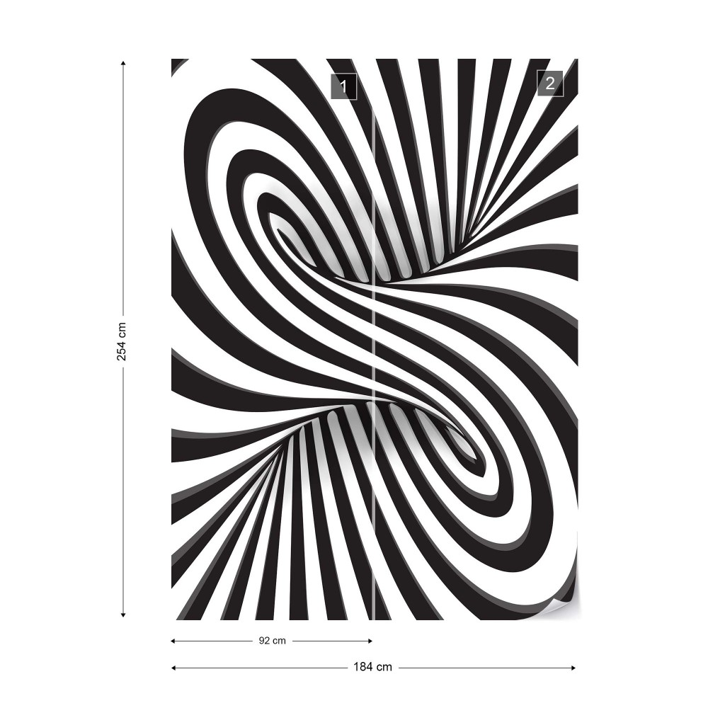 Wallpaper Modern 3D Optical Illusion Design Black And White