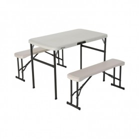 A set of two benches and a table 106cm