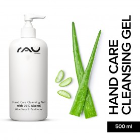 RAU Hand Care Cleansing Gel 500 ml - Anti-bacterial Hand Cleanse Gel with 70% Alkohol, Aloe Vera, Jojoba und Panthenol