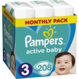 Pampers Active Baby ( Izmērs 3 ) Midi 6-10kg 208 gab