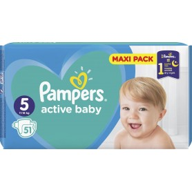 Pampers Active Baby Dry Maxi Pack ( Izmērs 5 ) 51 gab