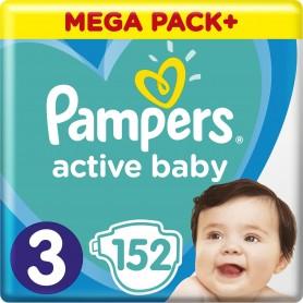 Pampers Active Baby ( Izmērs 3 ) Midi 6-10kg, 152 gab Mega Pack+