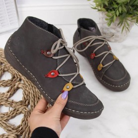 Women's shoes Gray insulated boots Rieker