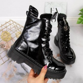 Women's shoes Black lacquered leather boots Filippo