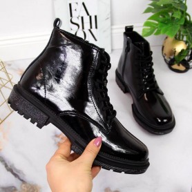 Women's shoes Leather patent leather boots Filippo