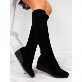 Women's shoes Black Suede boots on the wedge Filippo