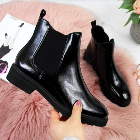 Women's shoes Warm Chelsea boots, lacquered Sergio Leone