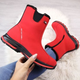 Women's shoes DK red waterproof insulated snow