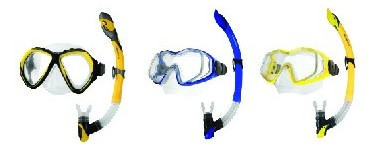 Diving masks and breathing tubes